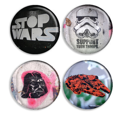 Pins, Badges and Buttons - Stencil Graffiti Button Set - Star Wars Fighters