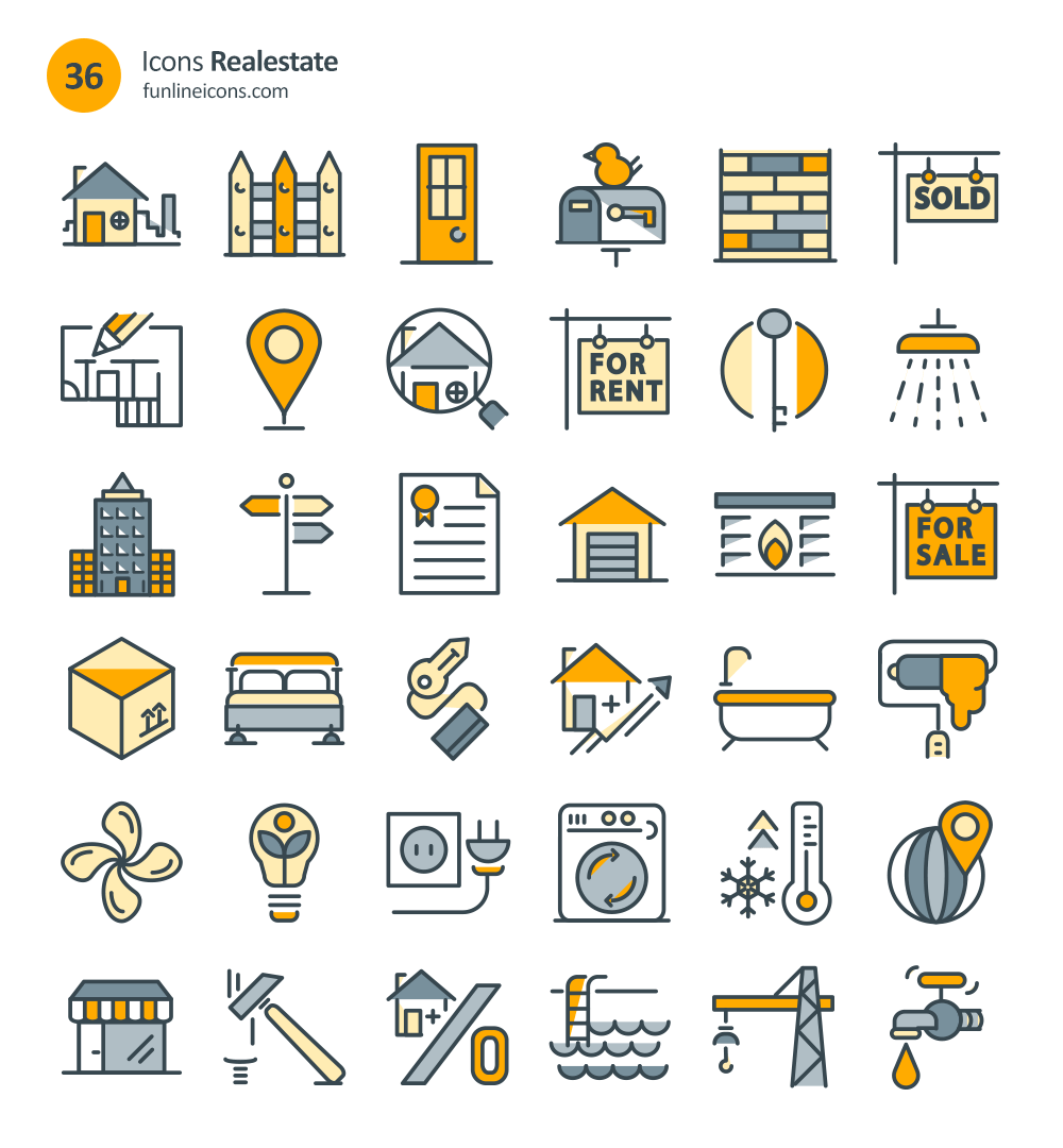72 home appliance and real estate icons freebie