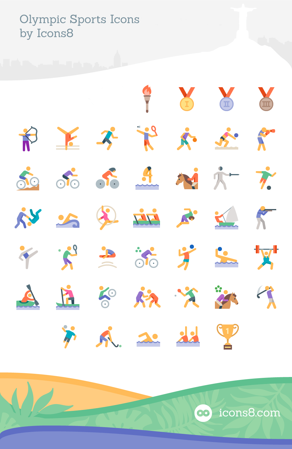 Freebie olympics sports icon set 45 icons eps pdf png svg full preview of the icon set buycottarizona