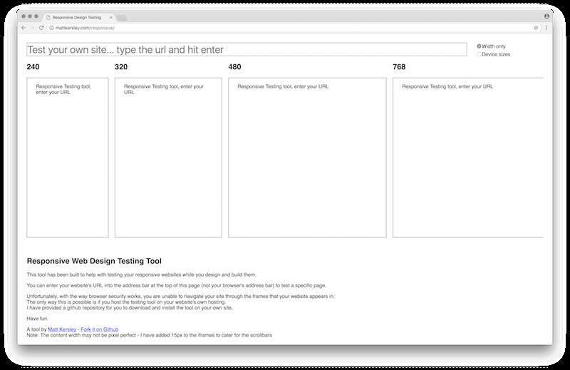 Matt Kersley's Responsive Web Design Testing Tool