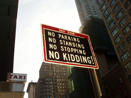 Wayfinding and Typographic Signs - no-parking---no-kidding