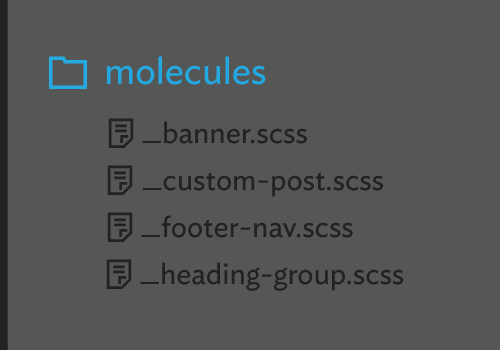 Examples of files from the molecule directory: banner.scss, footer-nav.scss