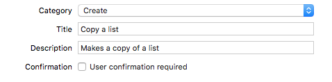 Screenshot of the custom intent description