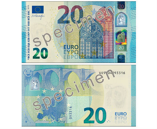 Euro bill of the Europa series - banknote design
