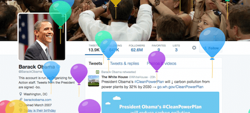 President Obama's twitter page with balloons