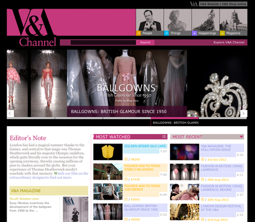 Website of the Victoria and Albert Museum.
