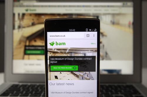 BAM website on mobile