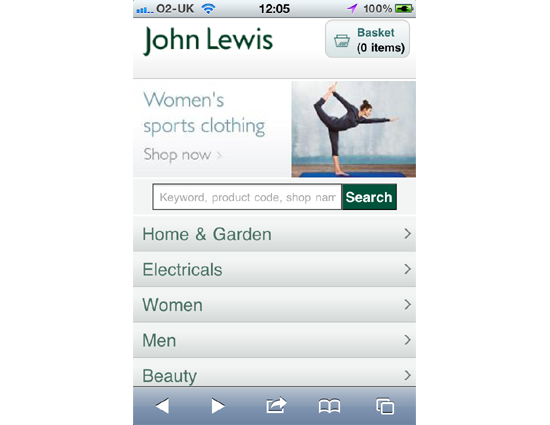 John Lewis - Mobile site