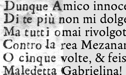 The original typeface as it was printed, compared to the final version of Legitima