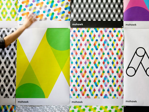 Different colorful patterns for Mohawk's new brand identity. (Image: Pentagram).