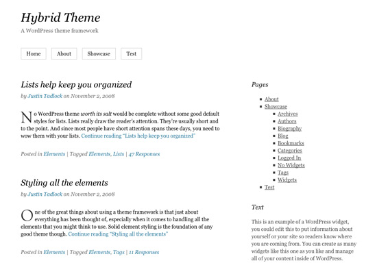 The Hybrid theme framework