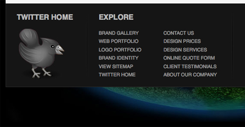 Showcase of Design Elements - Footer Sitemap