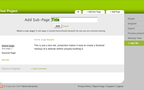 Jumpchart Add Sub-Page Screenshot