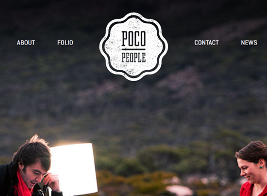 The header from Poco People demonstrates use of a textured brand on a clean background.