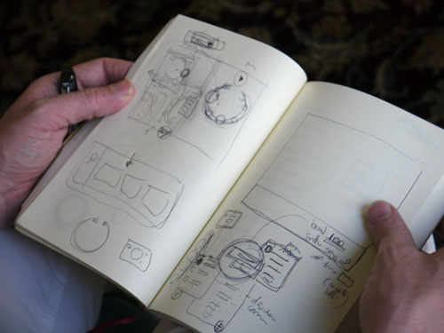 Sketchnotes in Duane Bray's notebook.