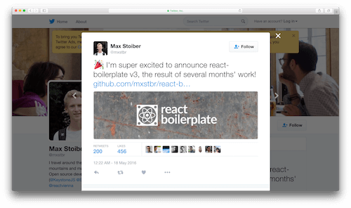Announcement of react-boilerplate v3 on Twitter