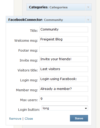 Including the Facebook Connect Widget into the sidebar