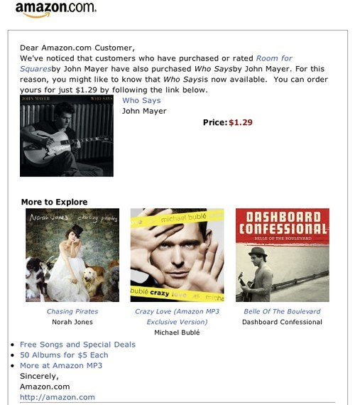 Amazon customised newsletter