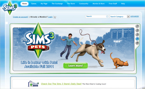 Sims3-homepage in Best Practices For Designing Websites For Kids