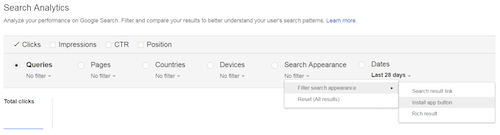 View of Install App Button filter within Google Search Console's Search Analytics Report.