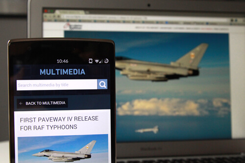 Eurofighter website on mobile