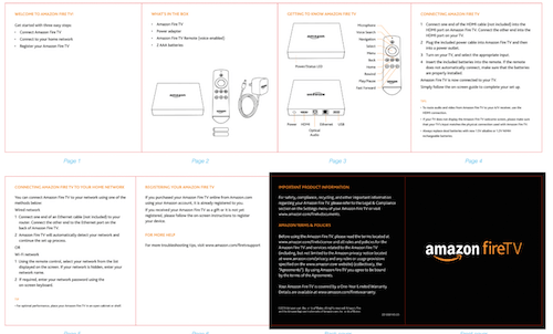 Amazon's fireTV quick start guide. The full guide is 39 pages long.