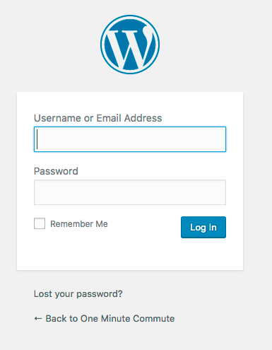 WordPress log-in screen