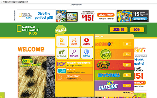 National Geographic Kids accepts and respects that the way kids interact with digital interfaces is influenced by touchscreen environments
