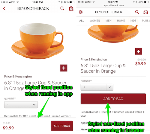Left, product display page in the app. Right, product display page in the browser.