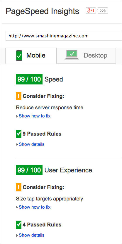 Google PageSpeed score: 99