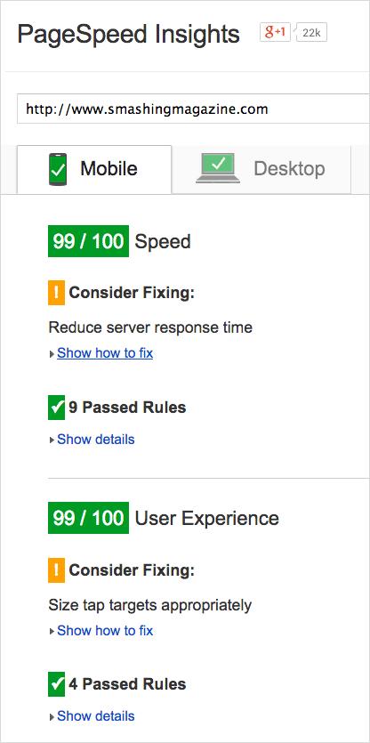Google PageSpeed score: 99