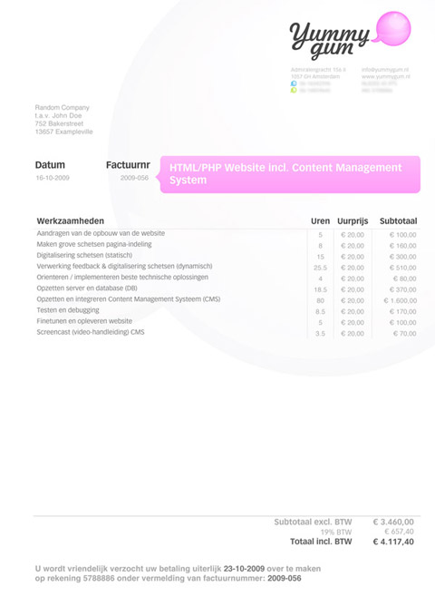 sample invoice for website development