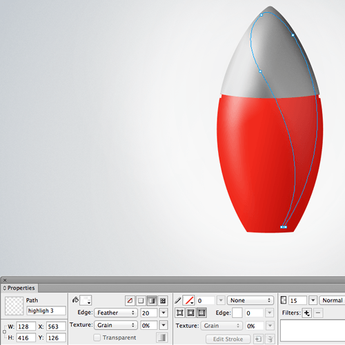 One of the vector shapes that make up the highlights on the body of the rocket.