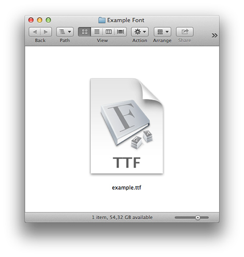 Font file in Mac OS X.