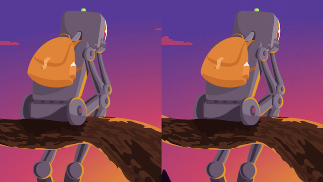 The illustration with and without a noise layer.