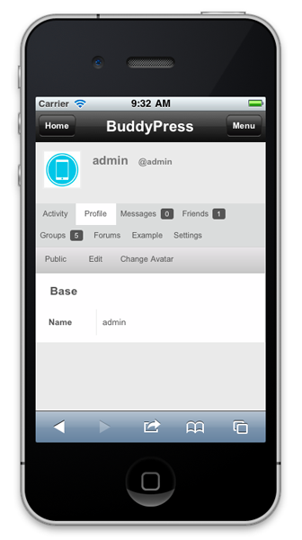 BuddyPress mobile displays member information such as profile picture and updates.