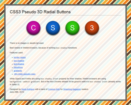 CSS3 Designs For Free Download - css3-pseudo-3d-radial-buttons