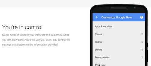 Google Now: You're in control