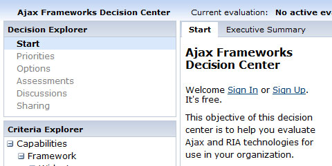Ajax Frameworks Decision Center