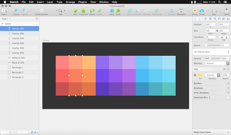 Sketch with blending modes