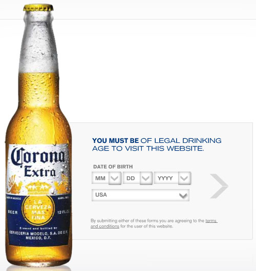 Corona Age Verification Screen