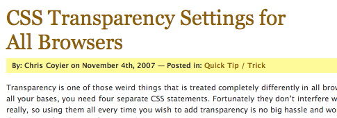 CSS-techniques - CSS Transparency Settings for All Browsers