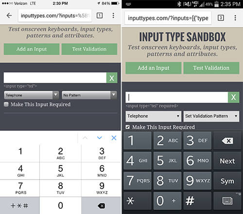 Setting an input's type to tel will display a 10-key keypad on both iOS and Android.