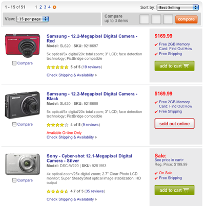 BestBuy.com's search results for cameras