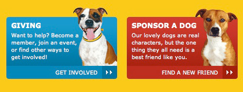 call-to-action buttons with dog imagery and contrasting colours