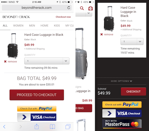 Left, the cart page rendered in the browser. Right, the same cart page, but rendered in the app.