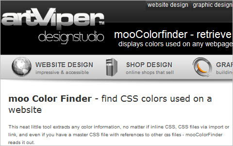 Website colors finder - ajax based mooColorfinder