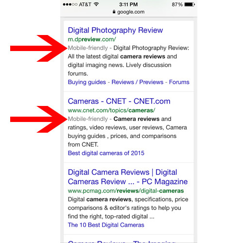 Example results from a Google search on a mobile device