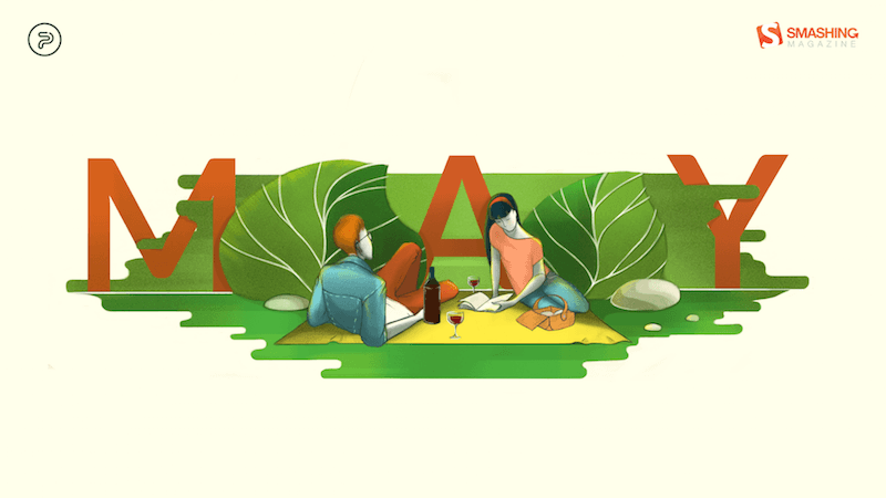 Illustration of a couple having a picknick.