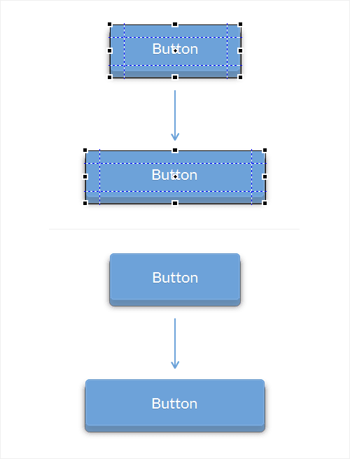 9-slice scaling in Fireworks (example with button).